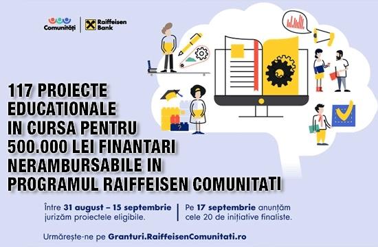 117 proiecte educaționale în cursa pentru 500.000 lei finanțări nerambursabile în programul Raiffeisen Comunități